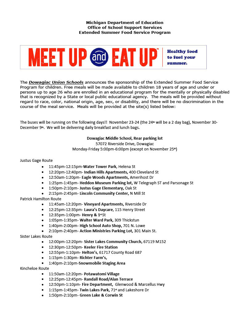 Meet Up and Eat Up stops and times